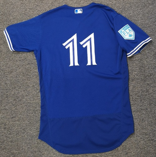 Photo of Authenticated Game Used 2019 Spring Training Jersey - #11 Kevin Pillar (Mar 18: 1-for-4 with 1 Run. Mar 26: 1-for-2). Size 44