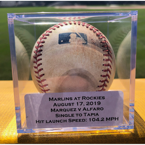 Photo of Colorado Rockies Game-Used Baseball - Pitcher: German Marquez, Batter: Jorge Alfaro (Single to Raimel Tapia) - August 17, 2019 vs Miami Marlins