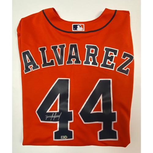 Photo of Yordan Alvarez Autographed Orange Astros Replica Jersey