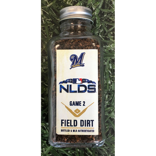 Photo of Game-Used Bottled Dirt - 2018 NLDS Game 2 COL@MIL - 10/04/18