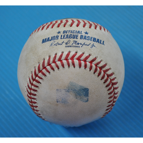 Photo of Game-Used Baseball - 2020 NLDS - San Diego Padres vs. Los Angeles Dodgers - Game 2 - Pitcher: Clayton Kershaw, Batters: Fernando Tatis Jr. (Popout to 1B), Manny Machado (Foul) - Top 3