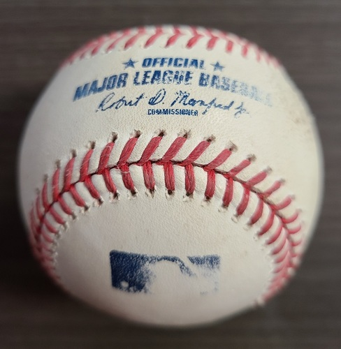Photo of Authenticated Game Used Baseball: Foul by Danny Jansen against Adam Ottavino (Sep 24, 2020 vs NYY). Bottom 6. Game played in Buffalo. Blue Jays Clinched Postseason Berth in Game.