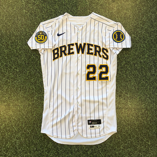 Photo of Christian Yelich 2020 Team-Issued Home Pinstripe Jersey (Authenticated 08/07/20 - 1-4, 2-Run HR)