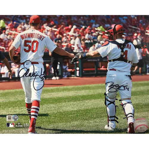 Photo of Cardinals Authentics: Yadier Molina and Adam Wainwright Fistbump Autographed Photo 2021