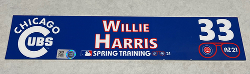 Photo of Willie Harris 2021 Spring Training Locker Nameplate