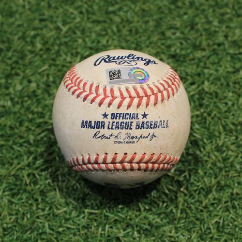 Photo of Game-Used Baseball: Luis Arraez 268th Career Hit & 83rd Career RBI (MIN@KC 10/2/21)