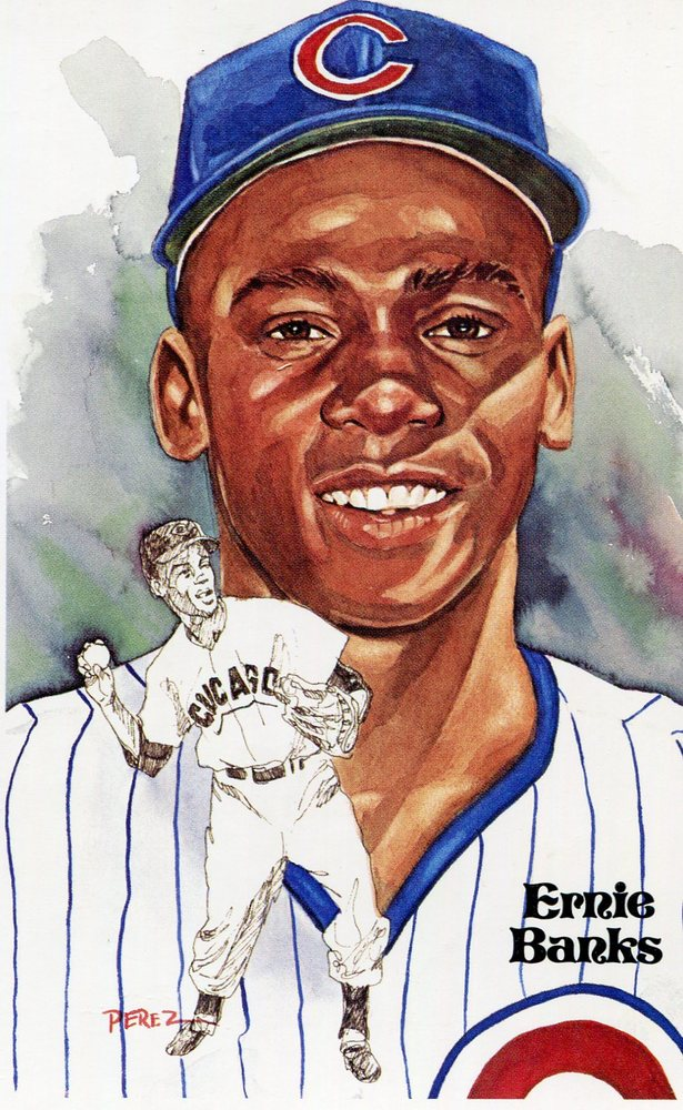 1980-02 Perez-Steele Hall of Fame Postcards #158 Ernie Banks -- HOF Class of 1977