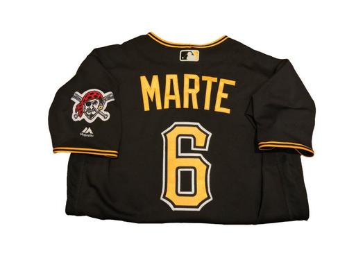 #6 Starling Marte Game-Used Black Alternate Jersey - Worn on 9/2/17 - 3 for 5, RBI