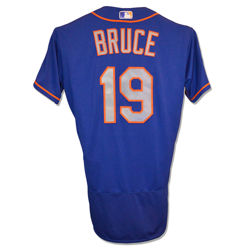 Photo of Jay Bruce #19 - Team Issued Blue Alt. Road Jersey - 10/20/16