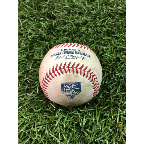 Photo of 20th Anniversary Game Used Baseball: Michael Perez 2RBI single off Hector Velazquez - August 24, 2018 v BOS - Players Weekend
