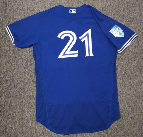Photo of Authenticated Game Used Spring Training 2019 Jersey - #21 Luke Maile (Mar 25, 19: 0-for-2). Size 46