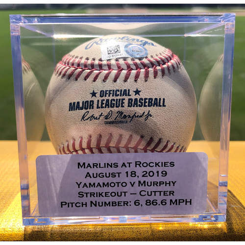 Photo of Colorado Rockies Game-Used Baseball - Pitcher: Jordan Yamamoto, Batter: Daniel Murphy (Strikeout) - August 18, 2019 vs Miami Marlins