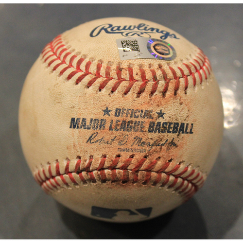 Photo of Game-Used Baseball: Danny Duffy Pitched Strikeout to Eddie Rosario (MIN @ KC - 6/22/19)