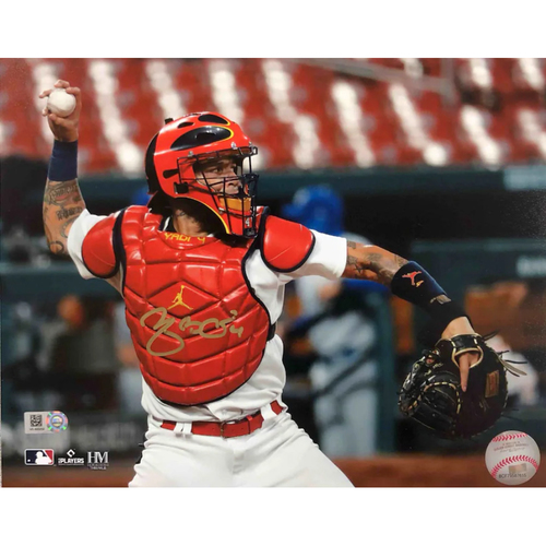 Photo of Cardinals Authentics: Yadier Molina Autographed Throwing Photo 2021