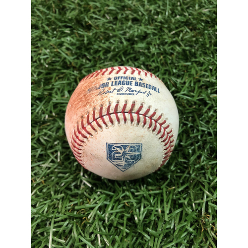 Photo of 20th Anniversary Game Used Baseball: Matt Duffy single, Jake Bauers strikeout, Ji-Man Choi single, Willy Adames single off Hector Velazquez - August 24, 2018 v BOS - Players Weekend