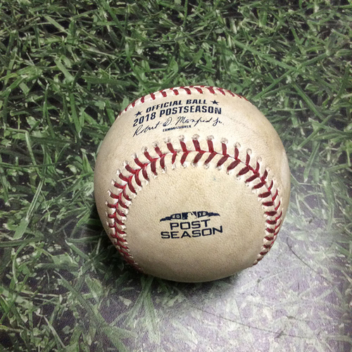 Photo of Game-Used Baseball NLCS Game 1 LAD@MIL 10/12/18 - Clayton Kershaw - Hernan Perez: Groundout