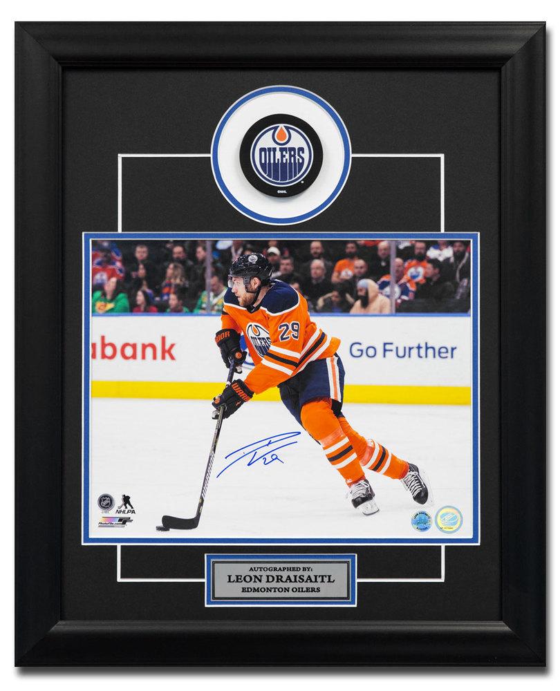 Leon Draisaitl Edmonton Oilers Autographed Hockey Playmaker 19x23 Puck Frame