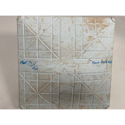 Photo of Autographed Game-Used Base: Matt Boyd First MLB Win