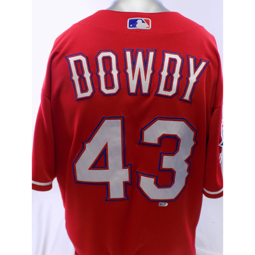Photo of Game-Used Red Kyle Dowdy Jersey - 3/30/19