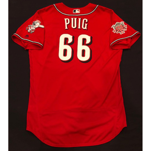 "Photo of Yasiel Puig -- Team-Issued ""Los Rojos"" Jersey -- D-backs vs. Reds on 9/6/19 -- Jersey Size 48"