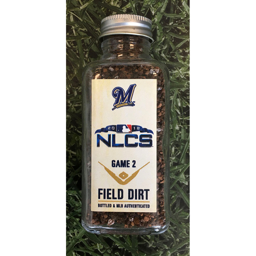 Photo of Game-Used Bottled Dirt - 2018 NLCS Game 2 LAD@MIL - 10/13/18