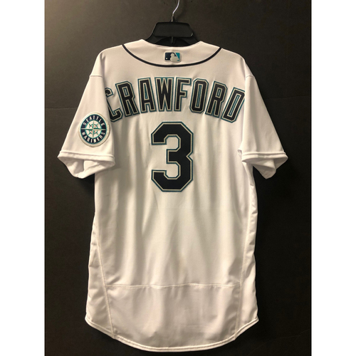 Photo of J.P. Crawford (2020 A.L. Gold Glove Winner) Home White Game Used Jersey - Worn 8/3/2020 against OAK