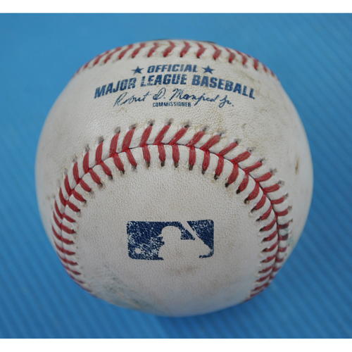 Photo of Game-Used Baseball - 2020 NLDS - Miami Marlins vs. Atlanta Braves - Game 2 - Pitcher: Pablo Lopez, Batters: Nick Markakis (Strikeout on Foul Tip), Austin Riley (Foul) - Bot 5