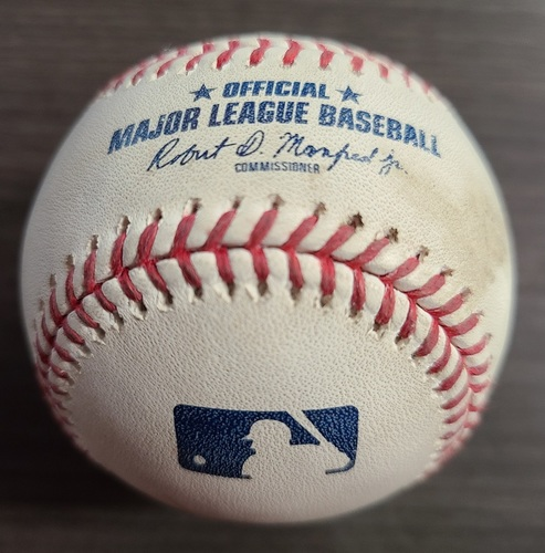 Photo of Authenticated Game Used Baseball: Foul by Aaron Hicks against Anthony Bass (Sep 24, 2020 vs NYY). Top 8. Game played in Buffalo. Blue Jays Clinched Postseason Berth in Game.