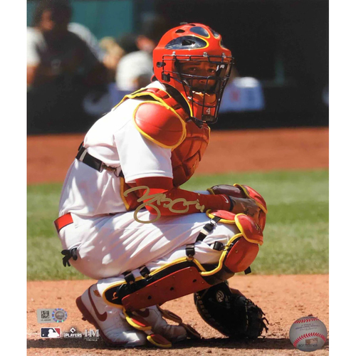 Photo of Cardinals Authentics: Yadier Molina Autographed Squatting Photo 2021