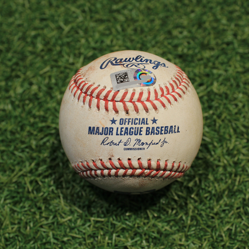 Photo of Game-Used Baseball: Miguel Sano 576th Career Hit, 413th & 414th Career RBIs (MIN@KC 10/1/21)