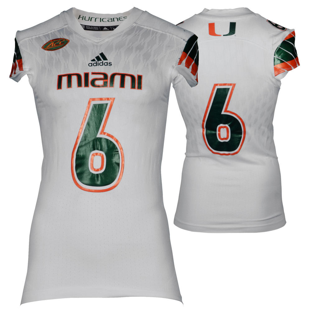 Miami Hurricanes Game-Used White #6 Adidas Football Jersey Used Between The 2015 and 2016 Seasons - Size Medium