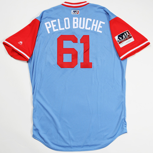 "Photo of Robinson ""Pelo Buche"" Chirinos Texas Rangers Game-Used 2018 Players' Weekend Jersey"
