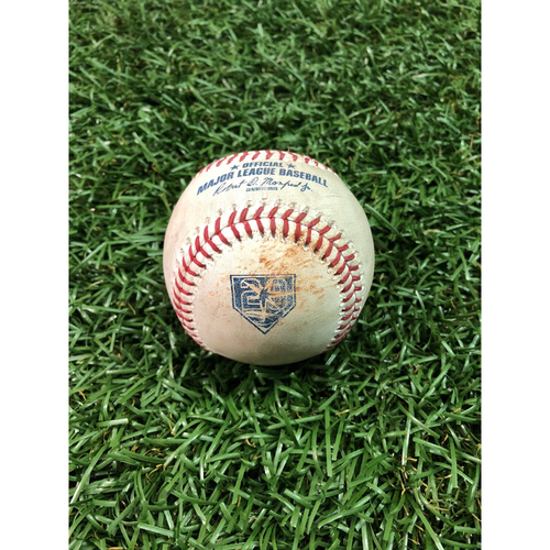 Photo of 20th Anniversary Game Used Baseball: J.D. Martinez double off Ryan Yarbrough - August 25, 2018 v BOS - Players Weekend