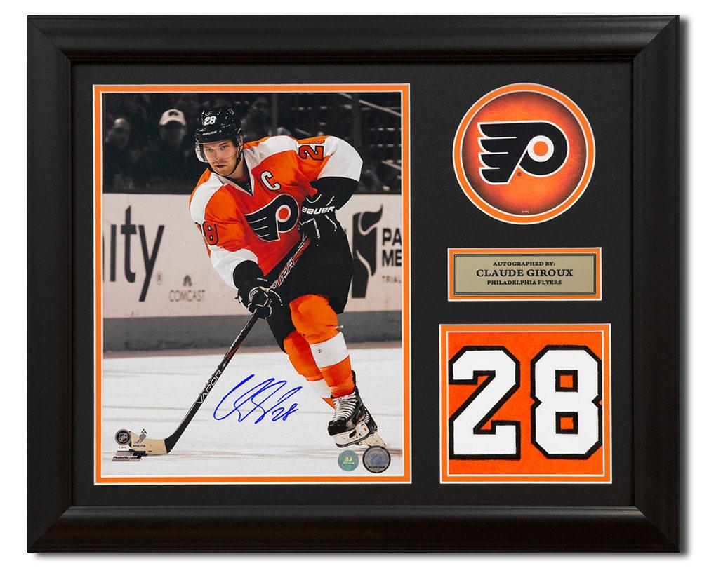 Claude Giroux Philadelphia Flyers Signed Franchise Jersey Number 23x19 Frame