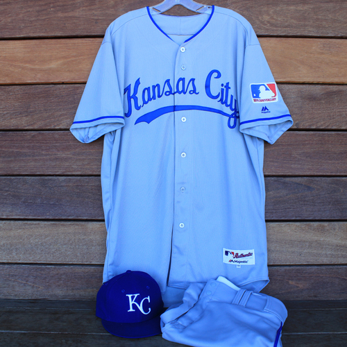 Photo of Game-Used 1969 Throwback Jersey, Pants and Cap: Danny Duffy (Jersey Size 46 - KC @ WSH  - 7/6/19)