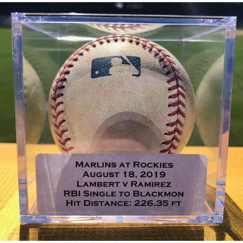 Photo of Colorado Rockies Game-Used Baseball - Pitcher: Peter Lambert, Batter: Harold Ramirez (RBI Single to Charlie Blackmon) - August 18, 2019 vs Miami Marlins