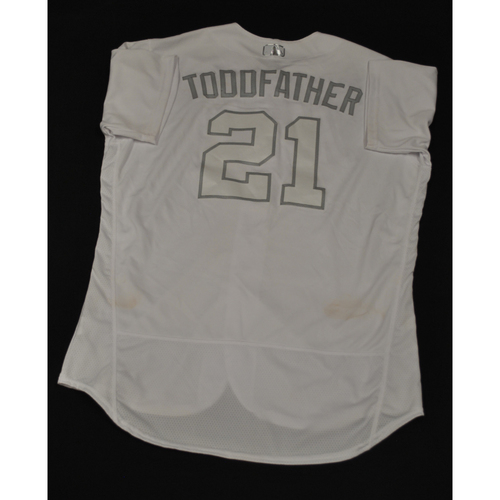 "Photo of Todd ""TODDFATHER"" Frazier New York Mets Game-Used 2019 Players' Weekend Jersey"