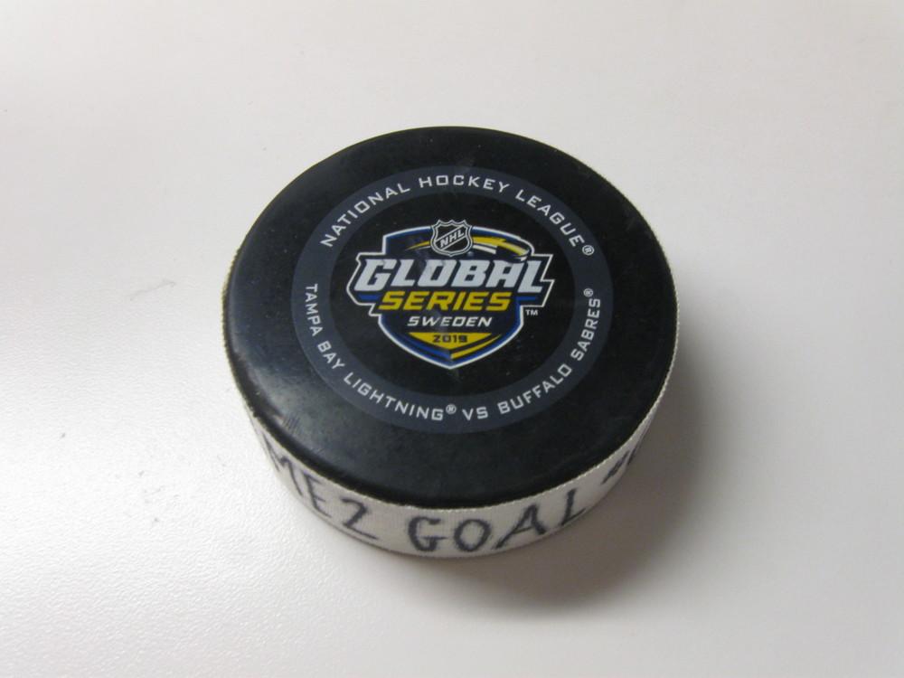 Yanni Gourde Tampa Bay Lightning Game-Used Goal Puck from November 9, 2019 vs. Buffalo Sabres in Stockholm, Sweden