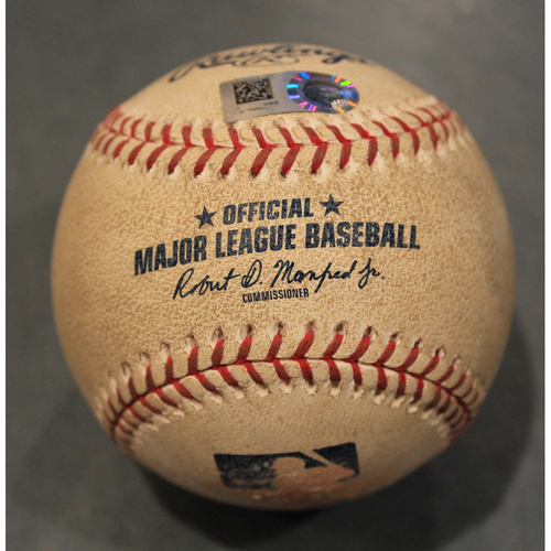 Photo of Game-Used Baseball: Jake Junis Pitched Strikeout to Yoan Moncada (CWS @ KC - 7/15/19)