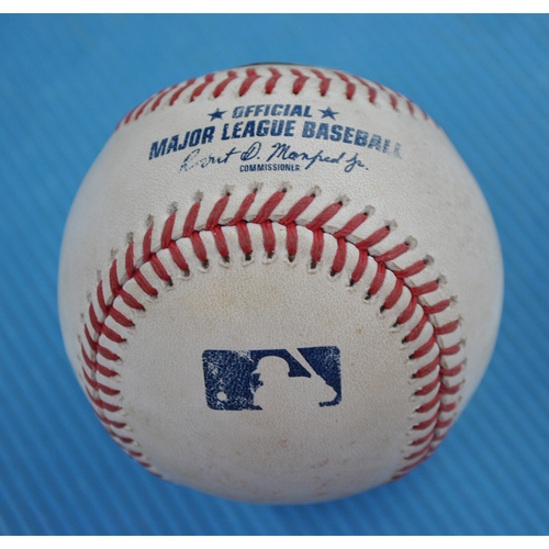 Photo of Game-Used Baseball - 2020 NLDS - Atlanta Braves vs. Miami Marlins - Game 3 - Pitcher: Trevor Rodgers, Batter: Adam Duvall (RBI Double) - Top 5