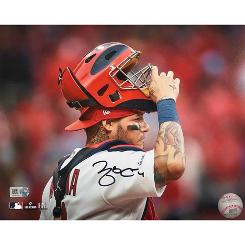 Photo of Cardinals Authentics: Yadier Molina Autographed Mask Up Photo 2021
