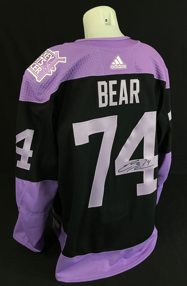 Ethan Bear #74 - Autographed 2020-21 Edmonton Oilers Pre-game Warm-Up Worn Hockey Fights Cancer Jersey