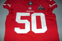 49ERS - CAM JOHNSON AUTHENTIC 49ERS JERSEY W/ SUPER BOWL XLVII PATCH - SIZE 44