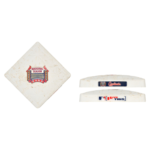 Photo of St. Louis Cardinals 2006 Busch Stadium Inaugural Season Game-Used Base vs. New York Mets on May 16, 8-3 Mets Victory