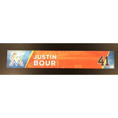 Photo of Justin Bour Game-Used Locker Tag