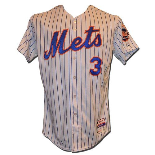 Photo of Curtis Granderson #3 - Game Used White Pinstripe Jersey - Mets vs. Nationals - 10/3/15