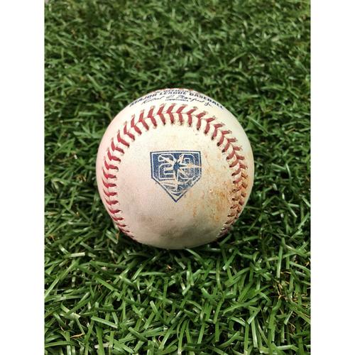 Photo of 20th Anniversary Game Used Baseball: Craig Kimbrel strikes out Matt Duffy and Ji-Man Choi - August 26, 2018 v BOS - Players Weekend