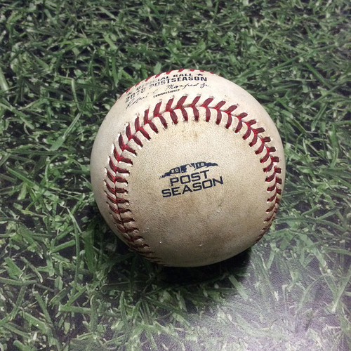 Photo of Game-Used Baseball NLCS Game 1 LAD@MIL 10/12/18 - Clayton Kershaw - Brandon Woodruff: Foul