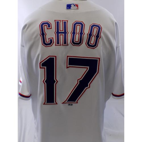 Photo of Game-Used White Shin-Soo Choo Jersey - 9/12/19