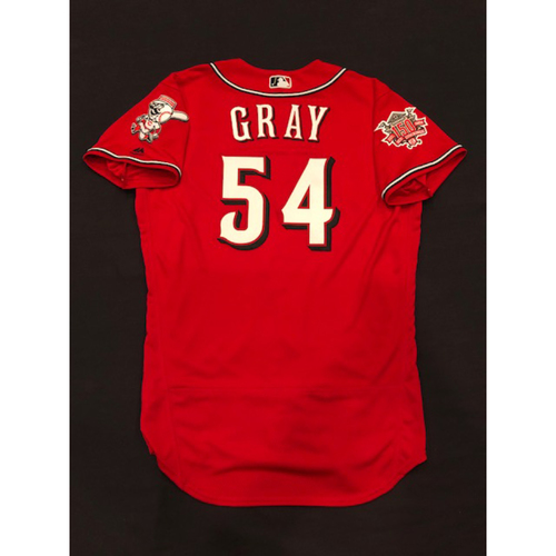 "Photo of Sonny Gray -- Team-Issued ""Los Rojos"" Jersey -- D-backs vs. Reds on 9/6/19 -- Jersey Size 44"